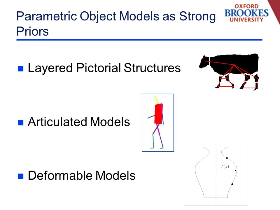 Parametric Object Models as Strong Priors n Layered Pictorial Structures n Articulated Models n Deformable Models