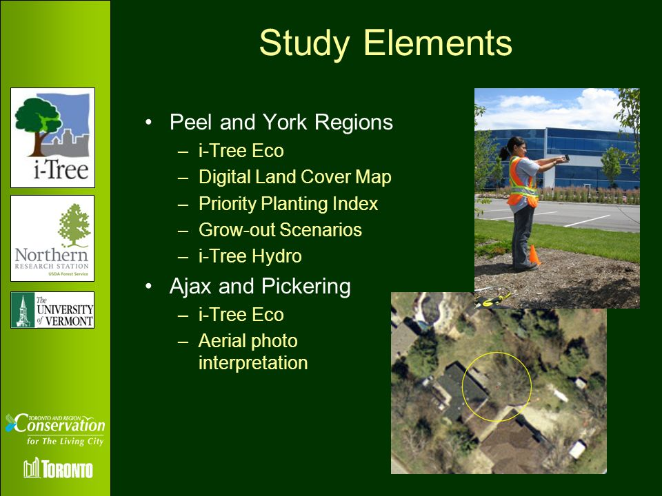 Study Elements Peel and York Regions –i-Tree Eco –Digital Land Cover Map –Priority Planting Index –Grow-out Scenarios –i-Tree Hydro Ajax and Pickering