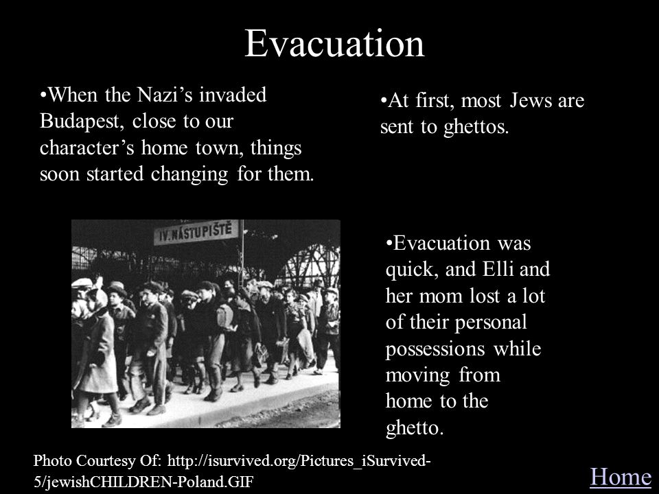 Evacuation Home When the Nazis invaded Budapest, close to our characters home town, things soon started changing for them. At first, most Jews are sen