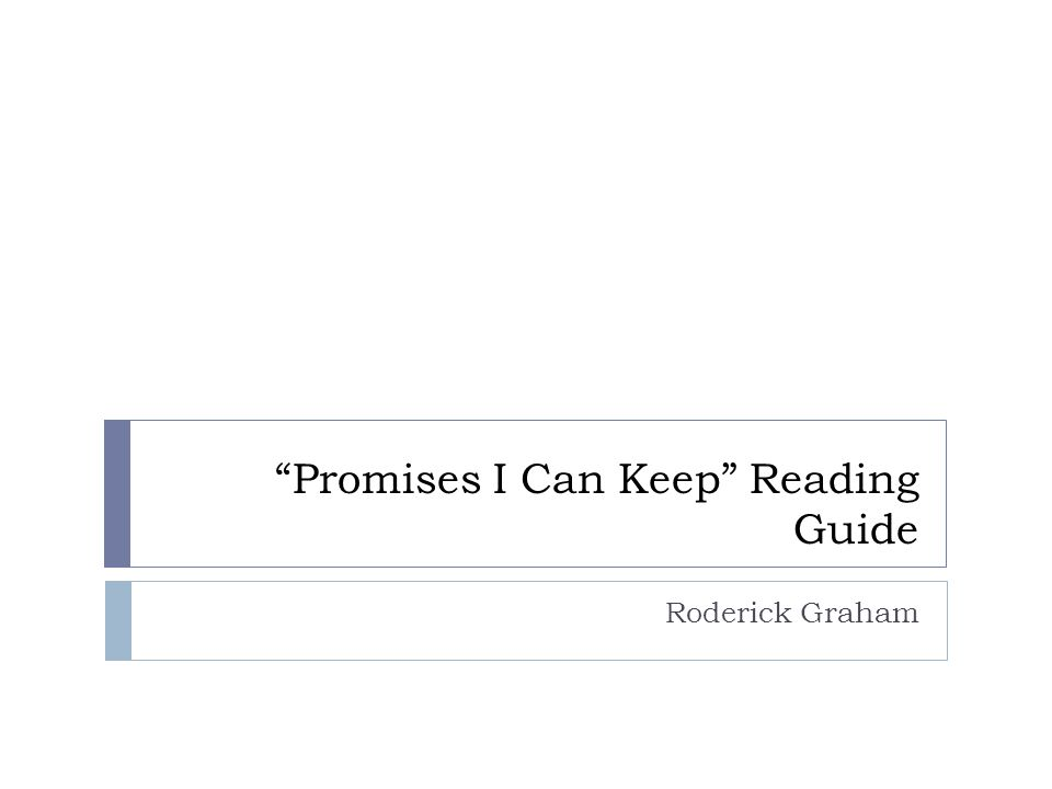 Promises I Can Keep Reading Guide Roderick Graham