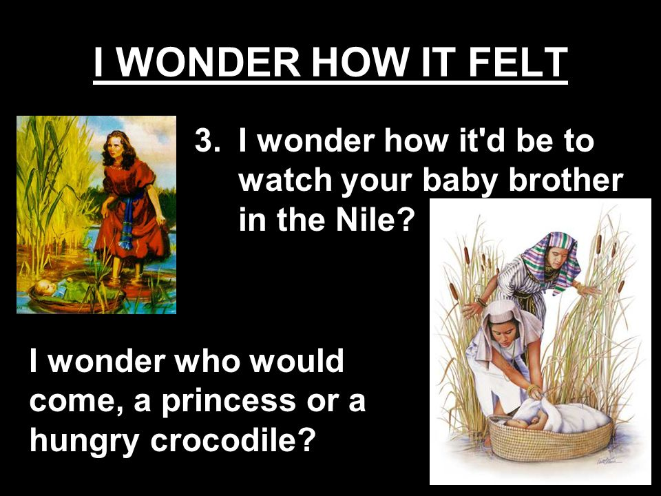 I wonder who would come, a princess or a hungry crocodile? 3.I wonder how it'd be to watch your baby brother in the Nile?