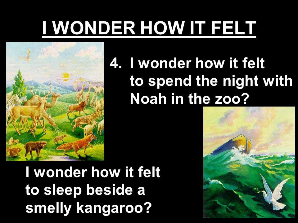 I wonder how it felt to sleep beside a smelly kangaroo? 4.I wonder how it felt to spend the night with Noah in the zoo?