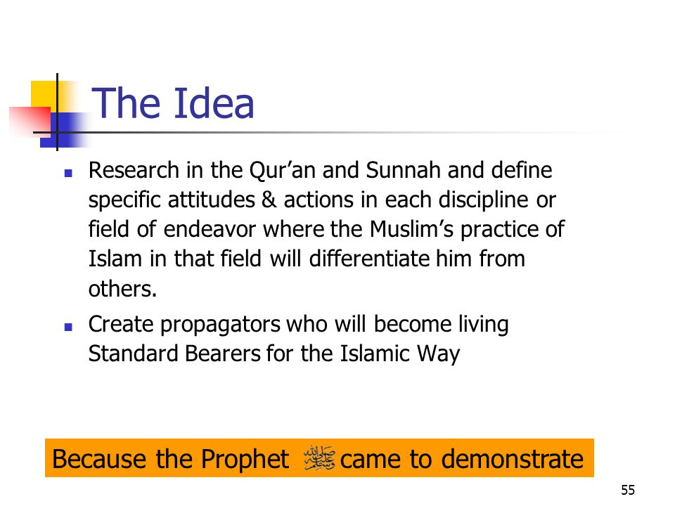 55 The Idea Research in the Quran and Sunnah and define specific attitudes & actions in each discipline or field of endeavor where the Muslims practic