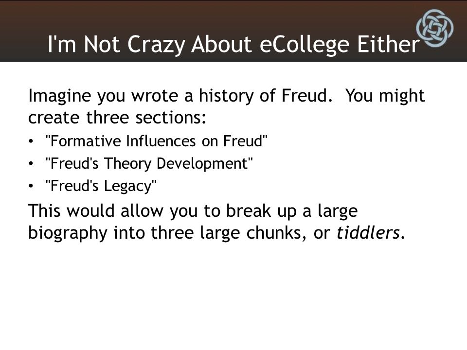 I'm Not Crazy About eCollege Either Imagine you wrote a history of Freud. You might create three sections: