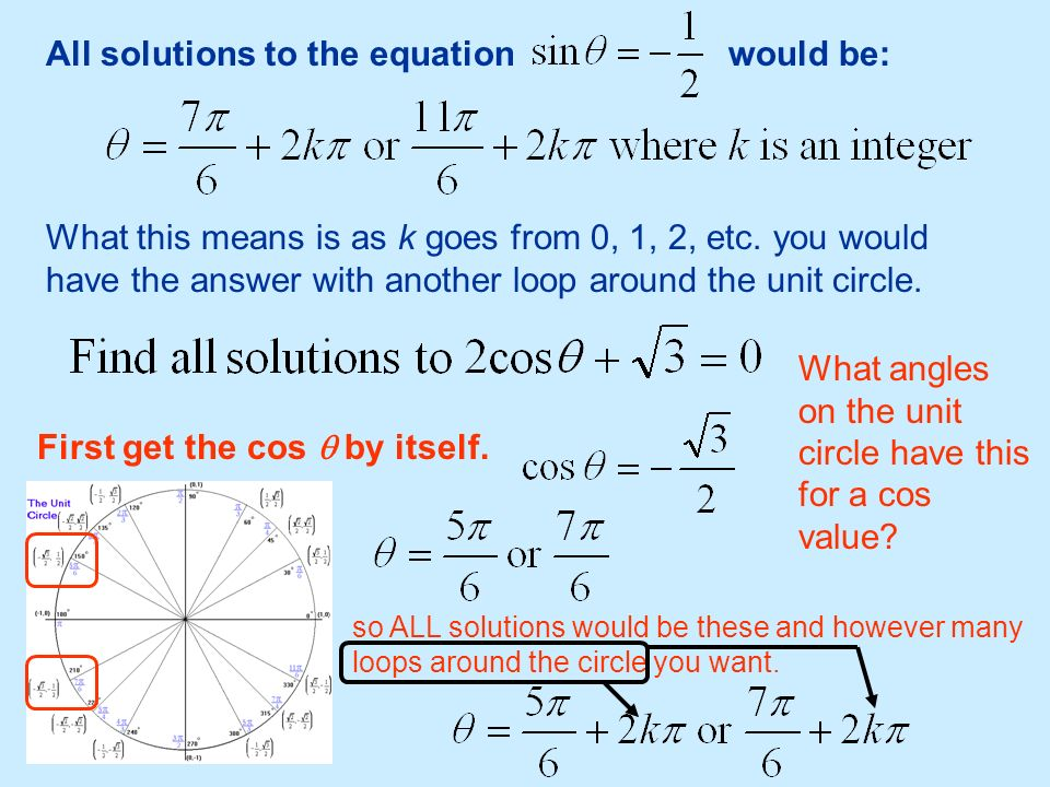 All solutions to the equation would be: What this means is as k goes from 0, 1, 2, etc. you would have the answer with another loop around the unit ci