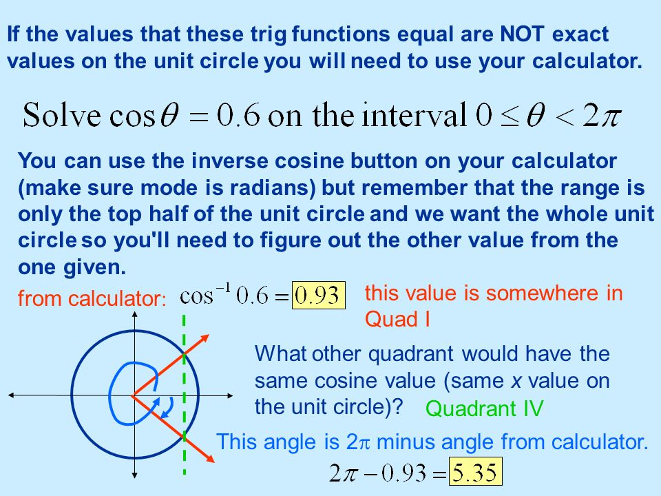 If the values that these trig functions equal are NOT exact values on the unit circle you will need to use your calculator. You can use the inverse co