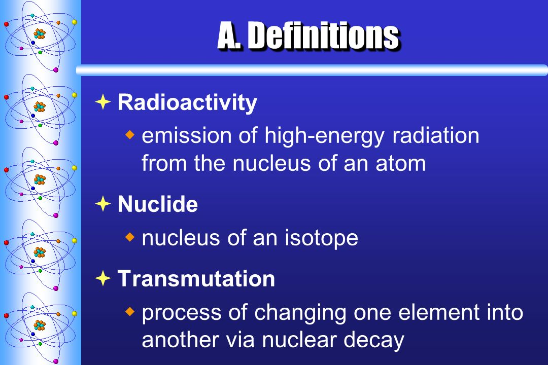 A. Definitions Radioactivity emission of high-energy radiation from the nucleus of an atom Nuclide nucleus of an isotope Transmutation process of chan