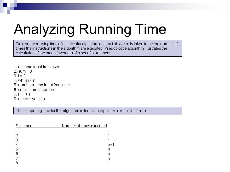 Analyzing Running Time 1. n = read input from user 2. sum = 0 3. i = 0 4. while i < n 5. number = read input from user 6. sum = sum + number 7. i = i