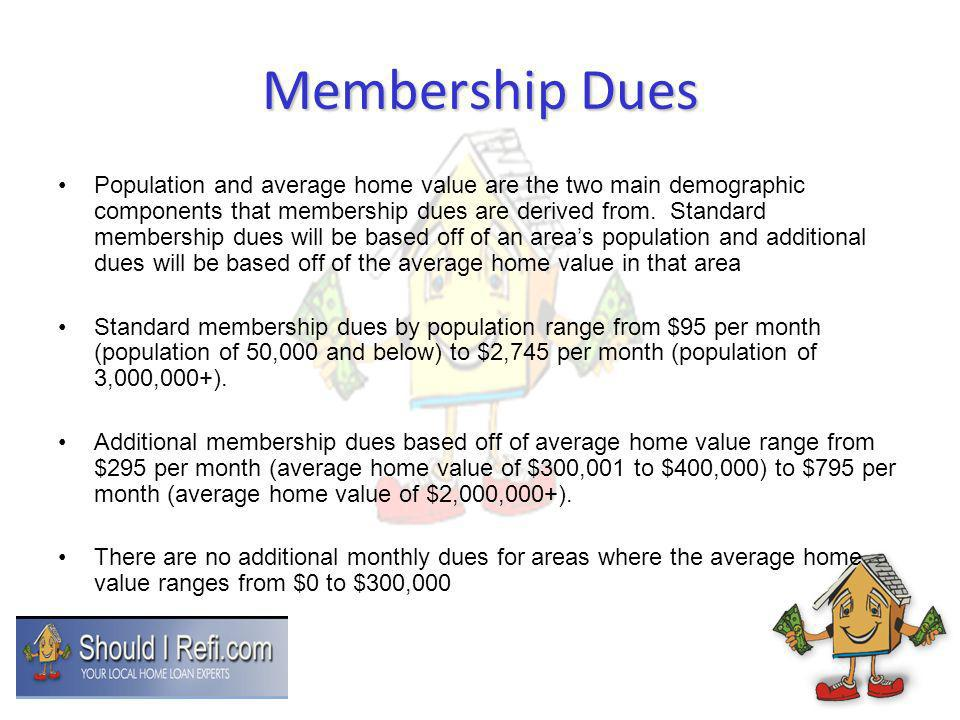 Membership Dues Population and average home value are the two main demographic components that membership dues are derived from. Standard membership d