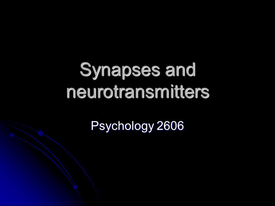 Synapses and neurotransmitters Psychology 2606