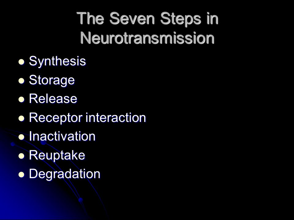 The Seven Steps in Neurotransmission Synthesis Synthesis Storage Storage Release Release Receptor interaction Receptor interaction Inactivation Inacti