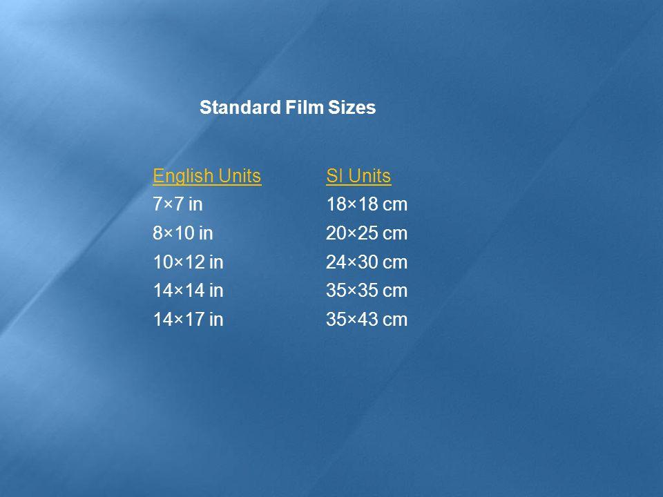 English UnitsSI Units 7×7 in18×18 cm 8×10 in20×25 cm 10×12 in24×30 cm 14×14 in35×35 cm 14×17 in35×43 cm Standard Film Sizes