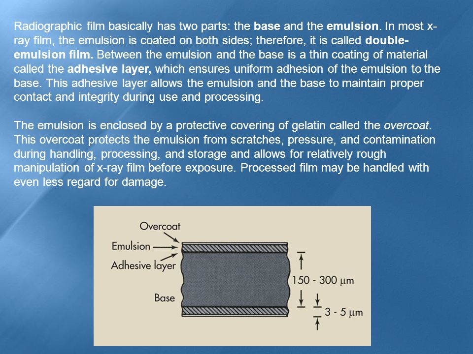 Radiographic film basically has two parts: the base and the emulsion. In most x- ray film, the emulsion is coated on both sides; therefore, it is call