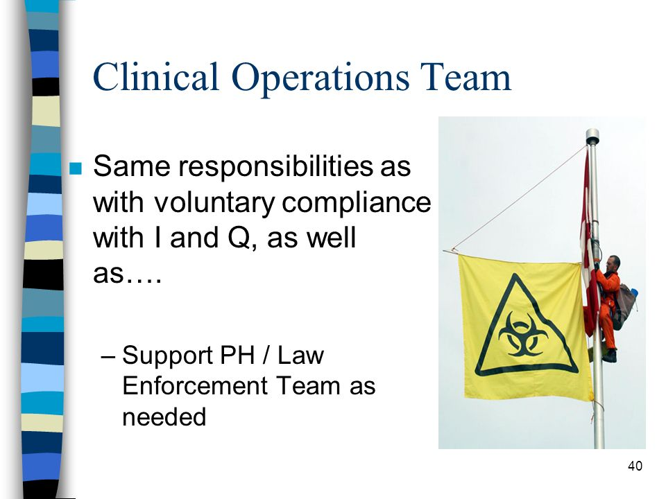 40 Clinical Operations Team n Same responsibilities as with voluntary compliance with I and Q, as well as….