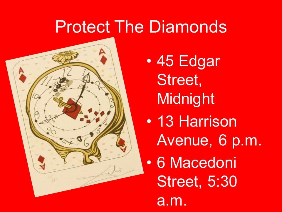 Protect The Diamonds 45 Edgar Street, Midnight 13 Harrison Avenue, 6 p.m. 6 Macedoni Street, 5:30 a.m.