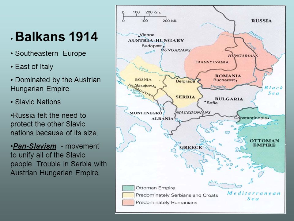 Balkans 1914 Southeastern Europe East of Italy Dominated by the Austrian Hungarian Empire Slavic Nations Russia felt the need to protect the other Sla