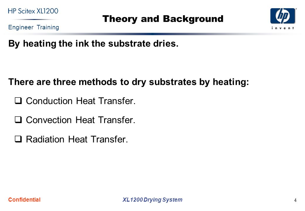 Engineer Training XL1200 Drying System Confidential 4 Theory and Background By heating the ink the substrate dries.