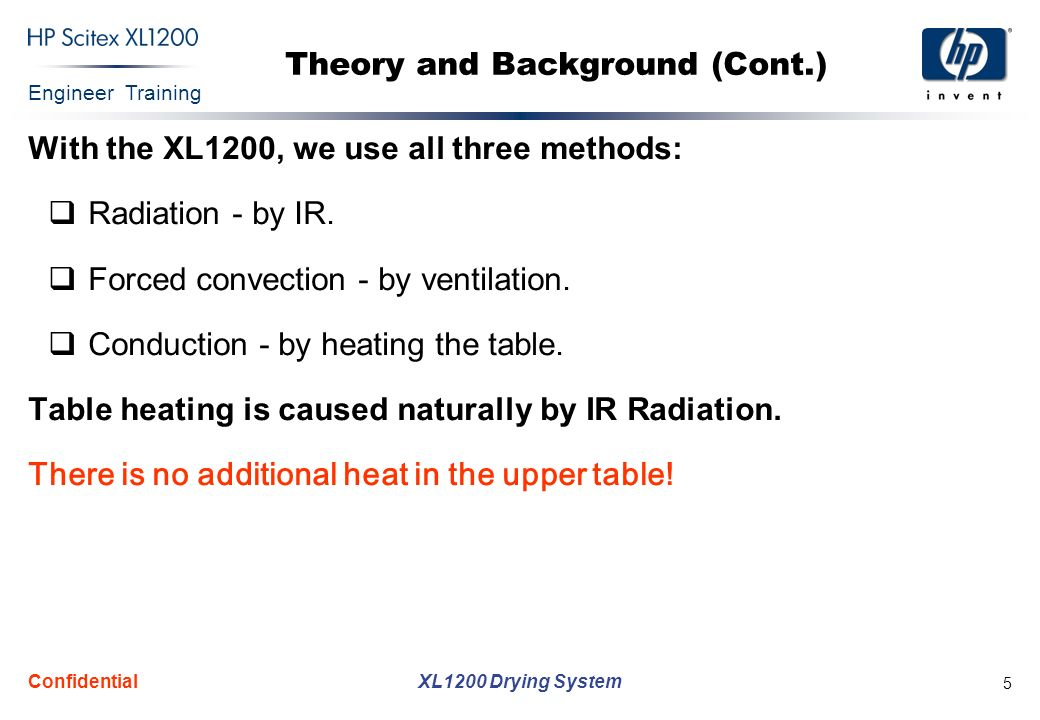Engineer Training XL1200 Drying System Confidential 5 Theory and Background (Cont.) With the XL1200, we use all three methods: Radiation - by IR.