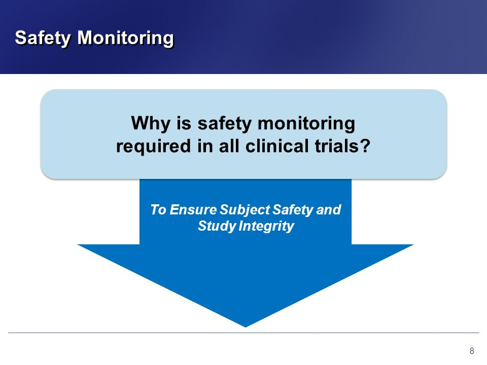 Safety Monitoring 8 Why is safety monitoring required in all clinical trials? Why is safety monitoring required in all clinical trials? To Ensure Subj