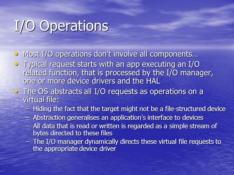 UDF File System Format replacing CDFS for optical storage media Format replacing CDFS for optical storage media –DVD-ROM in mind… Designed with rewritable media in mind, Windows 2000 UDF driver only provides read- only support Designed with rewritable media in mind, Windows 2000 UDF driver only provides read- only support File systems have the following features: File systems have the following features: –Filenames can be 255 characters long –Maximum path length is 1023 characters –Filenames can be upper and lower case