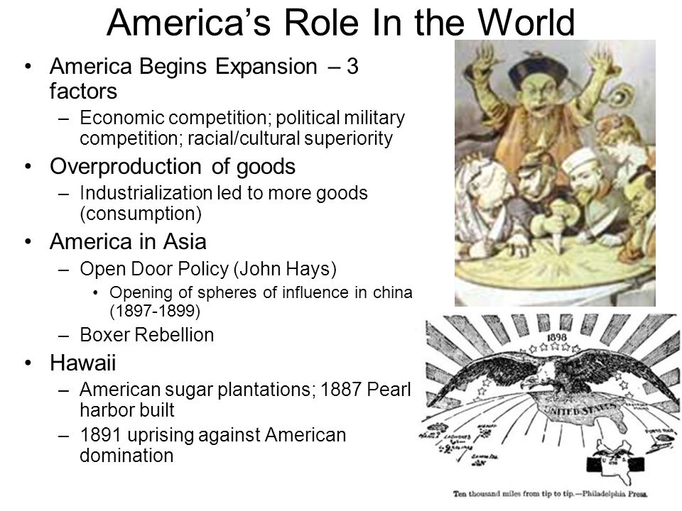 Americas Role In the World America Begins Expansion – 3 factors –Economic competition; political military competition; racial/cultural superiority Ove