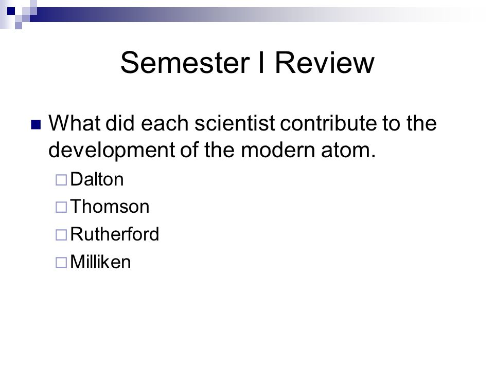 Semester I Review What did each scientist contribute to the development of the modern atom. Dalton Thomson Rutherford Milliken
