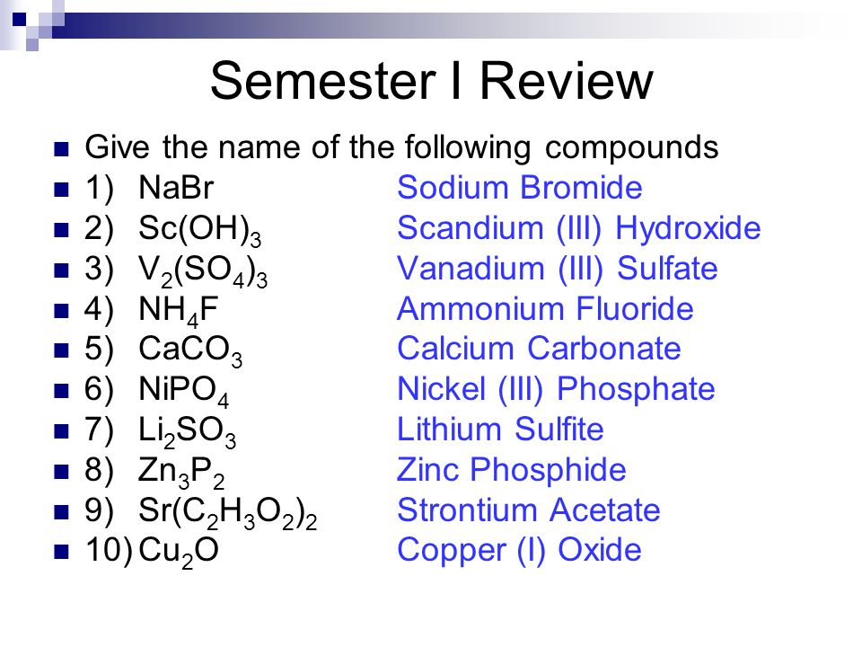 Give the name of the following compounds 1)NaBrSodium Bromide 2)Sc(OH) 3 Scandium (III) Hydroxide 3)V 2 (SO 4 ) 3 Vanadium (III) Sulfate 4)NH 4 FAmmon