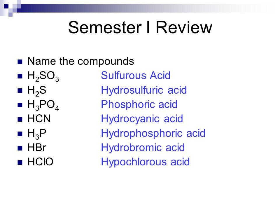 Name the compounds H 2 SO 3 Sulfurous Acid H 2 SHydrosulfuric acid H 3 PO 4 Phosphoric acid HCNHydrocyanic acid H 3 PHydrophosphoric acid HBrHydrobrom
