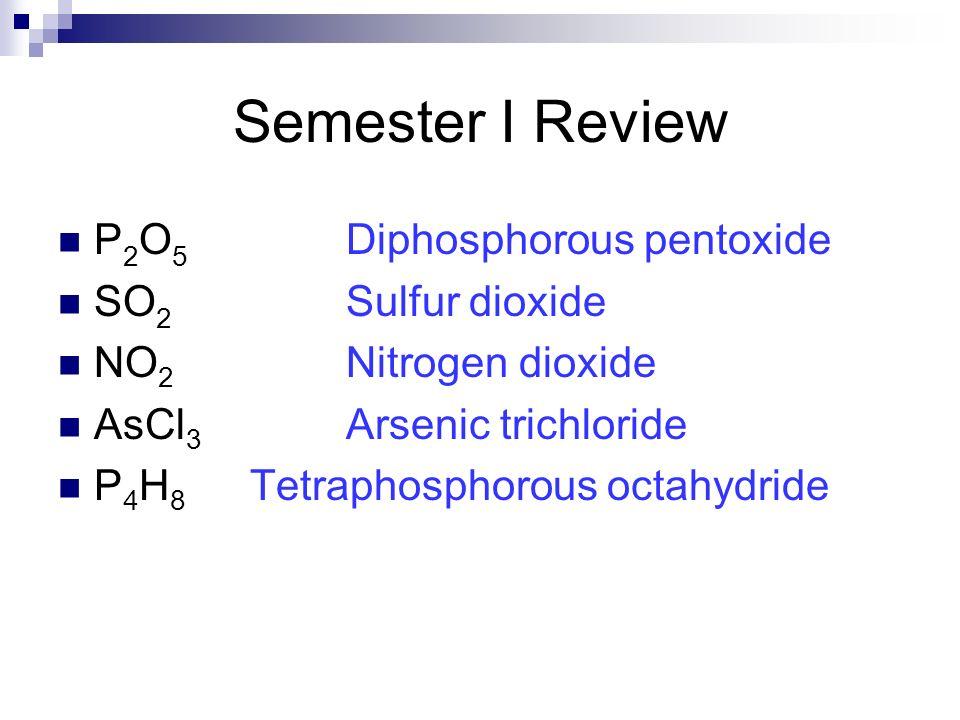 P 2 O 5 Diphosphorous pentoxide SO 2 Sulfur dioxide NO 2 Nitrogen dioxide AsCl 3 Arsenic trichloride P 4 H 8 Tetraphosphorous octahydride Semester I R