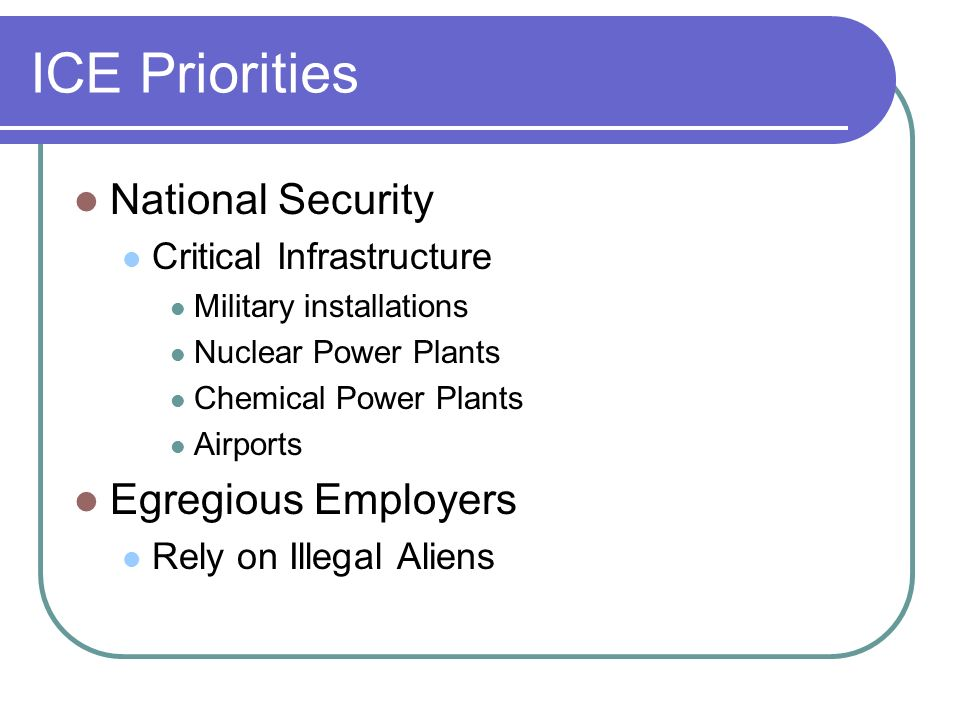ICE Priorities National Security Critical Infrastructure Military installations Nuclear Power Plants Chemical Power Plants Airports Egregious Employers Rely on Illegal Aliens