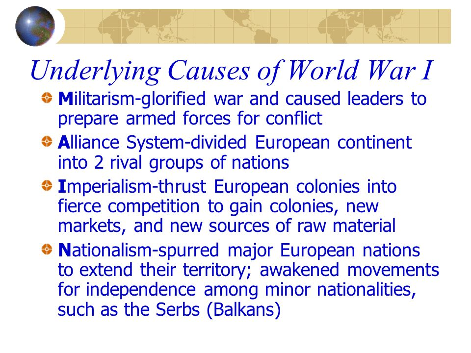 world war i ppt video online  12 underlying causes of world war i