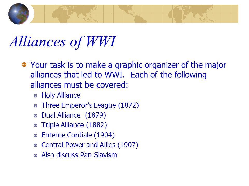 Alliances of WWI Your task is to make a graphic organizer of the major alliances that led to WWI. Each of the following alliances must be covered: Hol