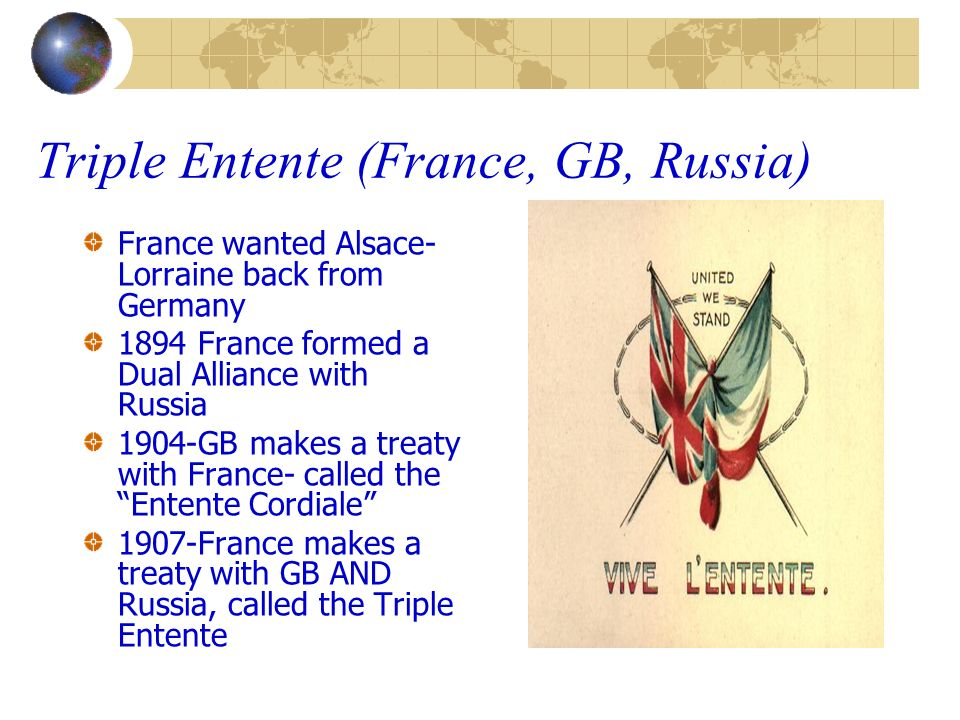 Triple Entente (France, GB, Russia) France wanted Alsace- Lorraine back from Germany 1894 France formed a Dual Alliance with Russia 1904-GB makes a tr