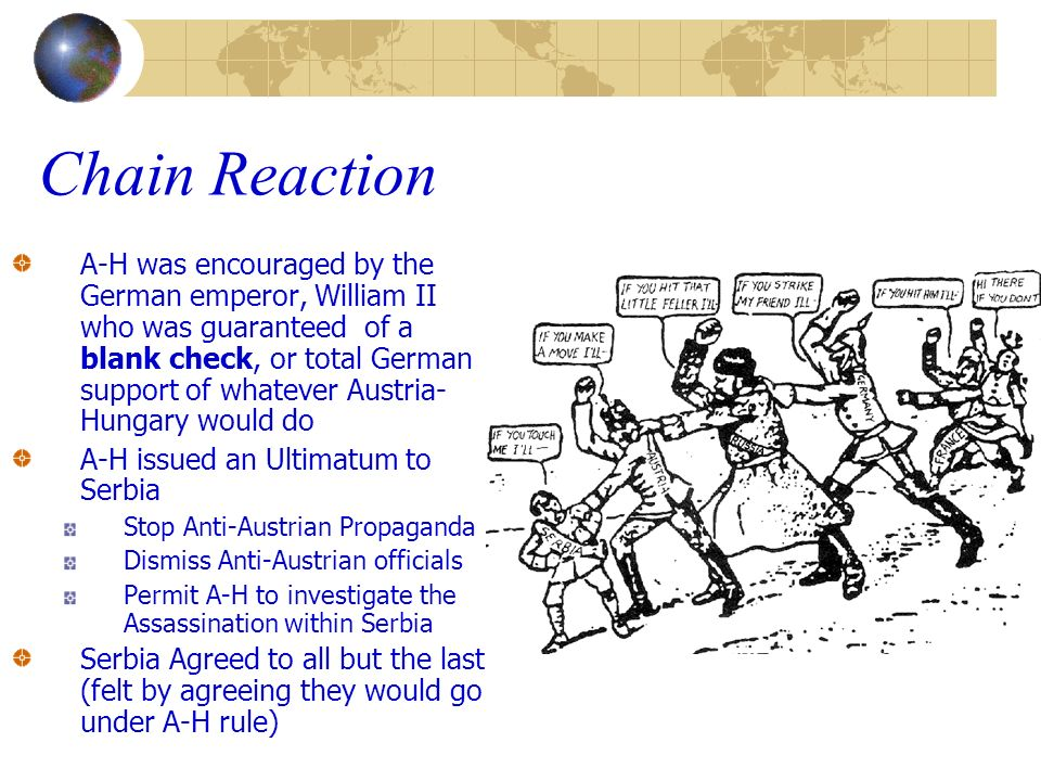 Chain Reaction A-H was encouraged by the German emperor, William II who was guaranteed of a blank check, or total German support of whatever Austria-