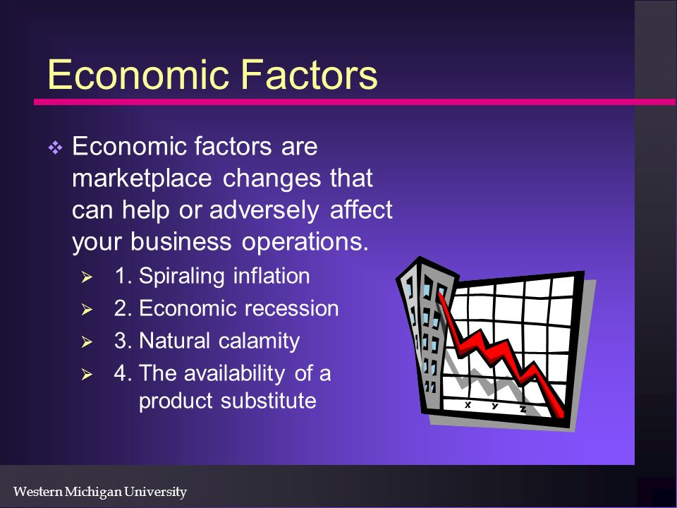 Western Michigan University Economic Factors Economic factors are marketplace changes that can help or adversely affect your business operations.