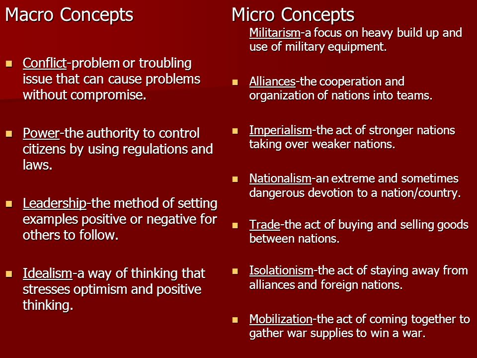 Macro Concepts Conflict-problem or troubling issue that can cause problems without compromise. Conflict-problem or troubling issue that can cause prob