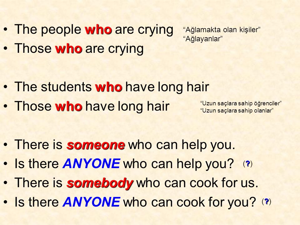 whoThe people who are crying whoThose who are crying whoThe students who have long hair whoThose who have long hair someoneThere is someone who can help you.