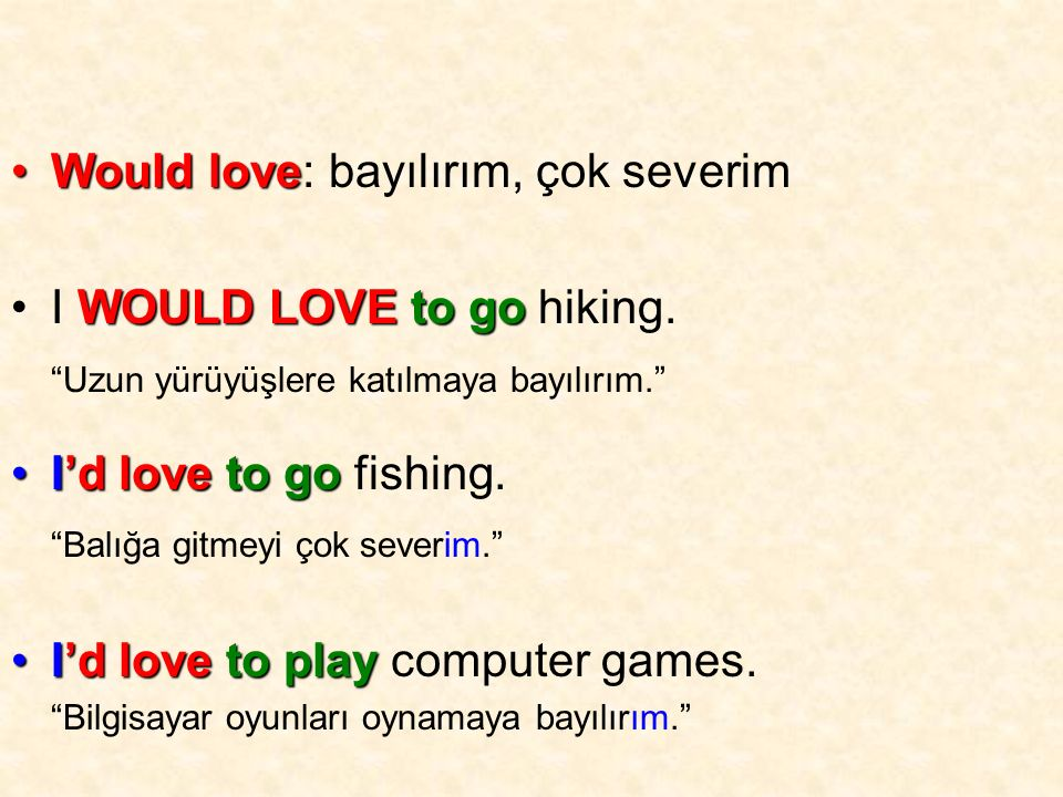 Would loveWould love: bayılırım, çok severim WOULD LOVEto goI WOULD LOVE to go hiking.