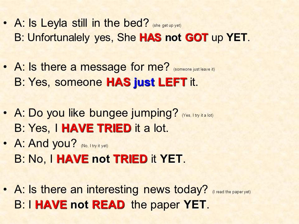 A: Is Leyla still in the bed.