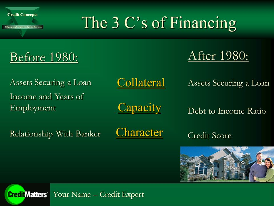 Helping people improve and protect their credit Credit Concepts Your Name – Credit Expert The 3 Cs of Financing Collateral CollateralCapacityCharacter Before 1980: Assets Securing a Loan Income and Years of Employment Relationship With Banker After 1980: Assets Securing a Loan Debt to Income Ratio Credit Score