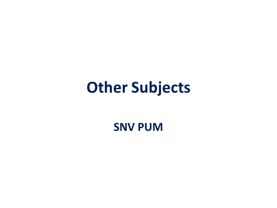 Other Subjects SNV PUM