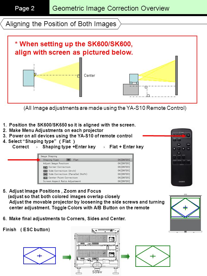 Geometric Image Correction Overview Page 2 Aligning the Position of Both Images 1. Position the SK600/SK650 so it is aligned with the screen. 2. Make
