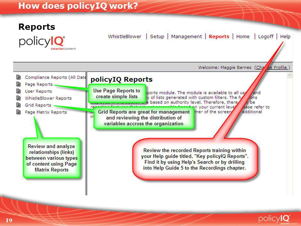 19 How does policyIQ work Reports
