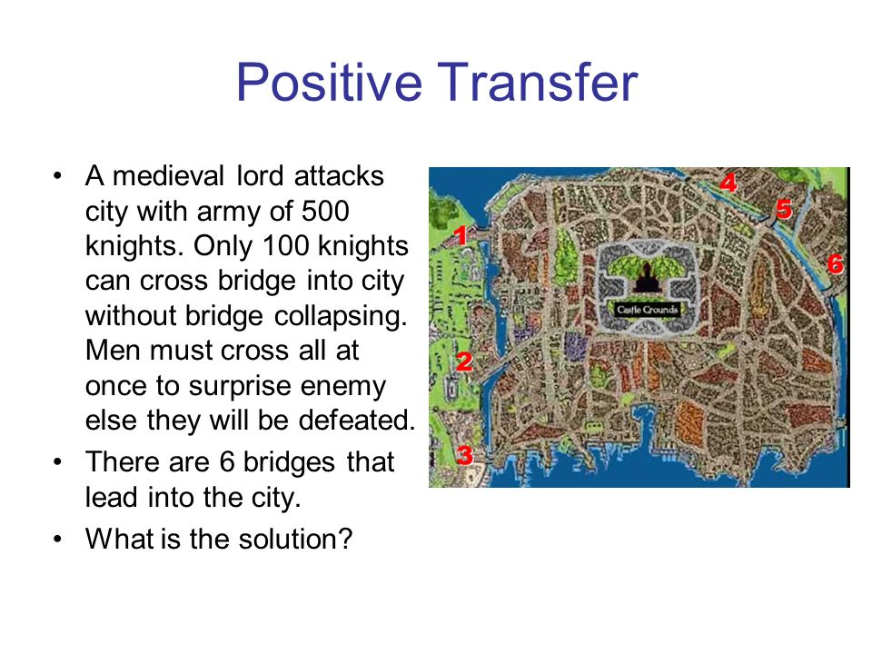 Positive Transfer A medieval lord attacks city with army of 500 knights.
