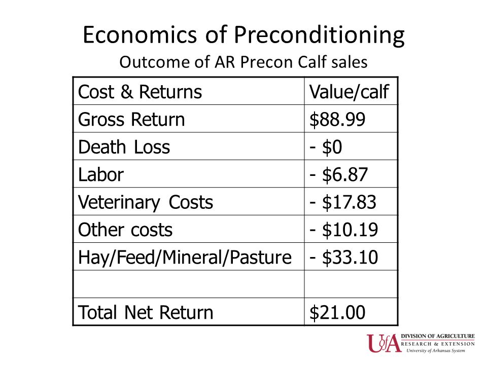 Economics of Preconditioning Outcome of AR Precon Calf sales Cost & ReturnsValue/calf Gross Return$88.99 Death Loss- $0 Labor- $6.87 Veterinary Costs- $17.83 Other costs- $10.19 Hay/Feed/Mineral/Pasture- $33.10 Total Net Return$21.00