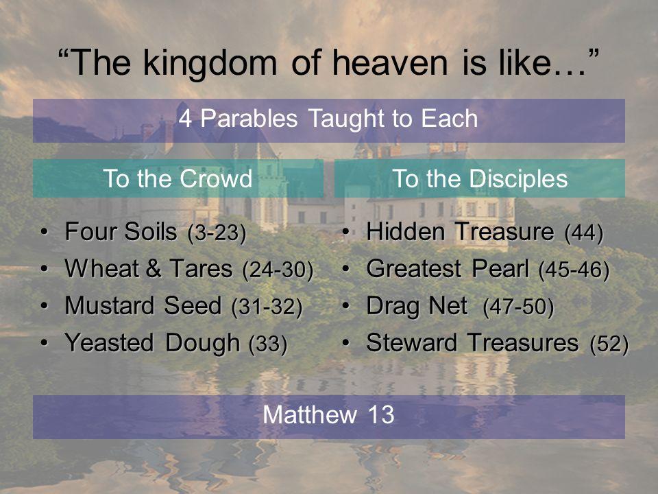 The kingdom of heaven is like… Four Soils (3-23)Four Soils (3-23) Wheat & Tares (24-30)Wheat & Tares (24-30) Mustard Seed (31-32)Mustard Seed (31-32)