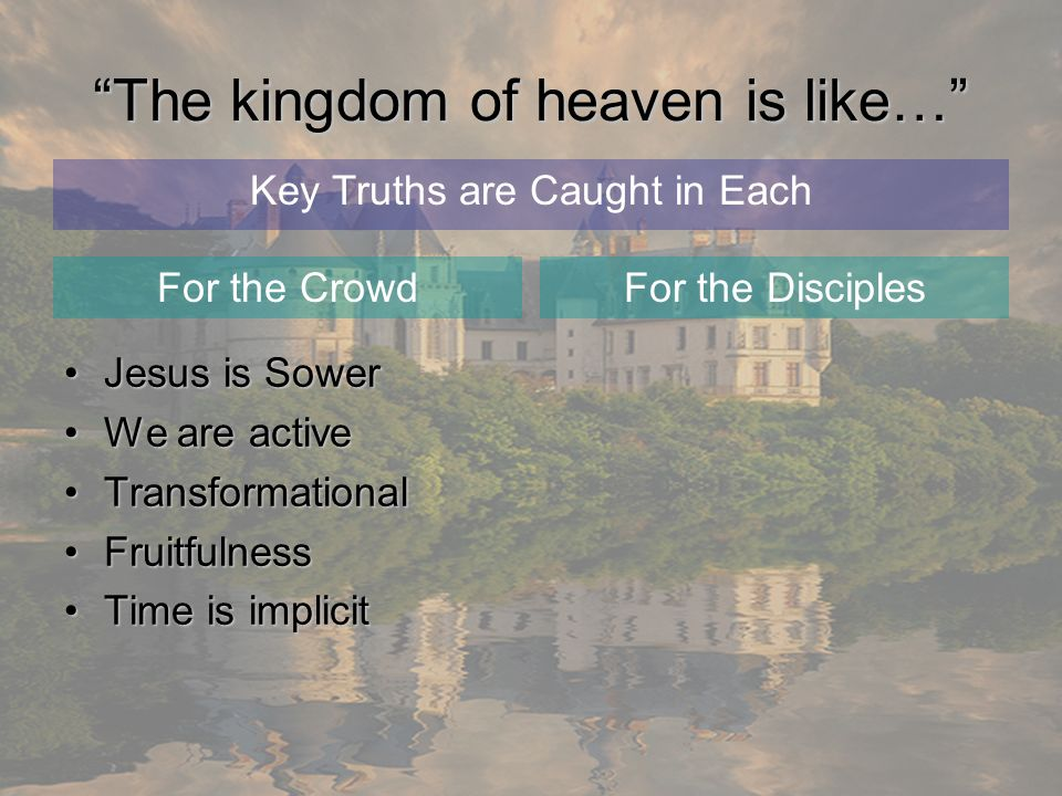 The kingdom of heaven is like… Jesus is SowerJesus is Sower We are activeWe are active TransformationalTransformational FruitfulnessFruitfulness Time