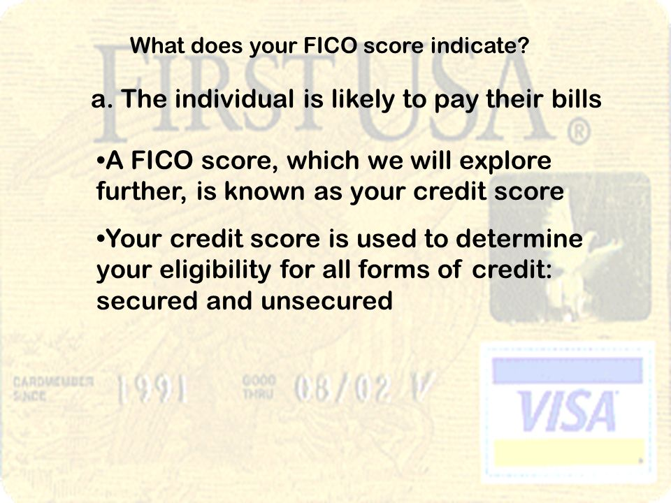 What does your FICO score indicate. a.