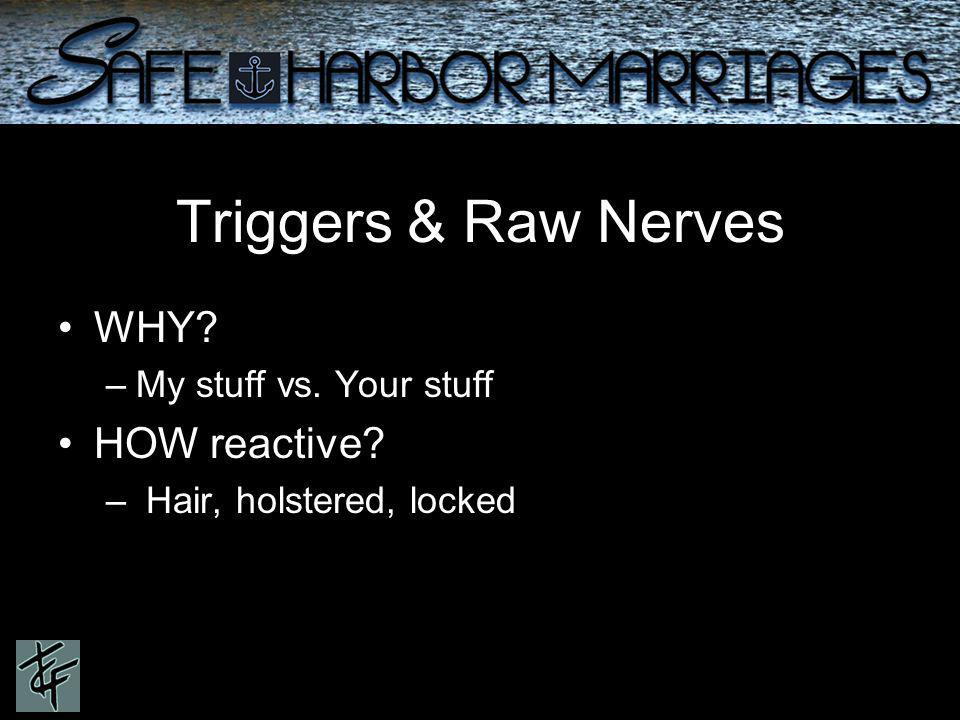Triggers & Raw Nerves WHY –My stuff vs. Your stuff HOW reactive – Hair, holstered, locked