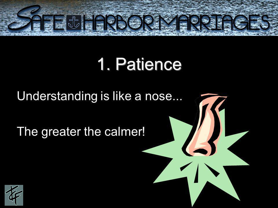 1. Patience Understanding is like a nose... The greater the calmer!